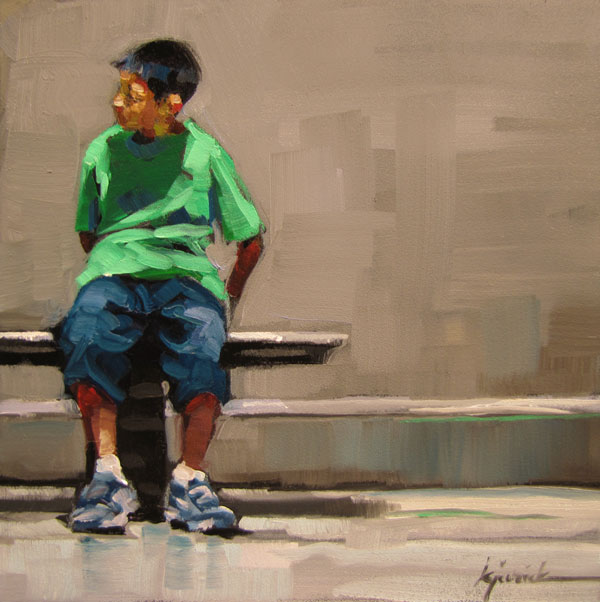 """Green Tee"" original fine art by Karin Jurick"