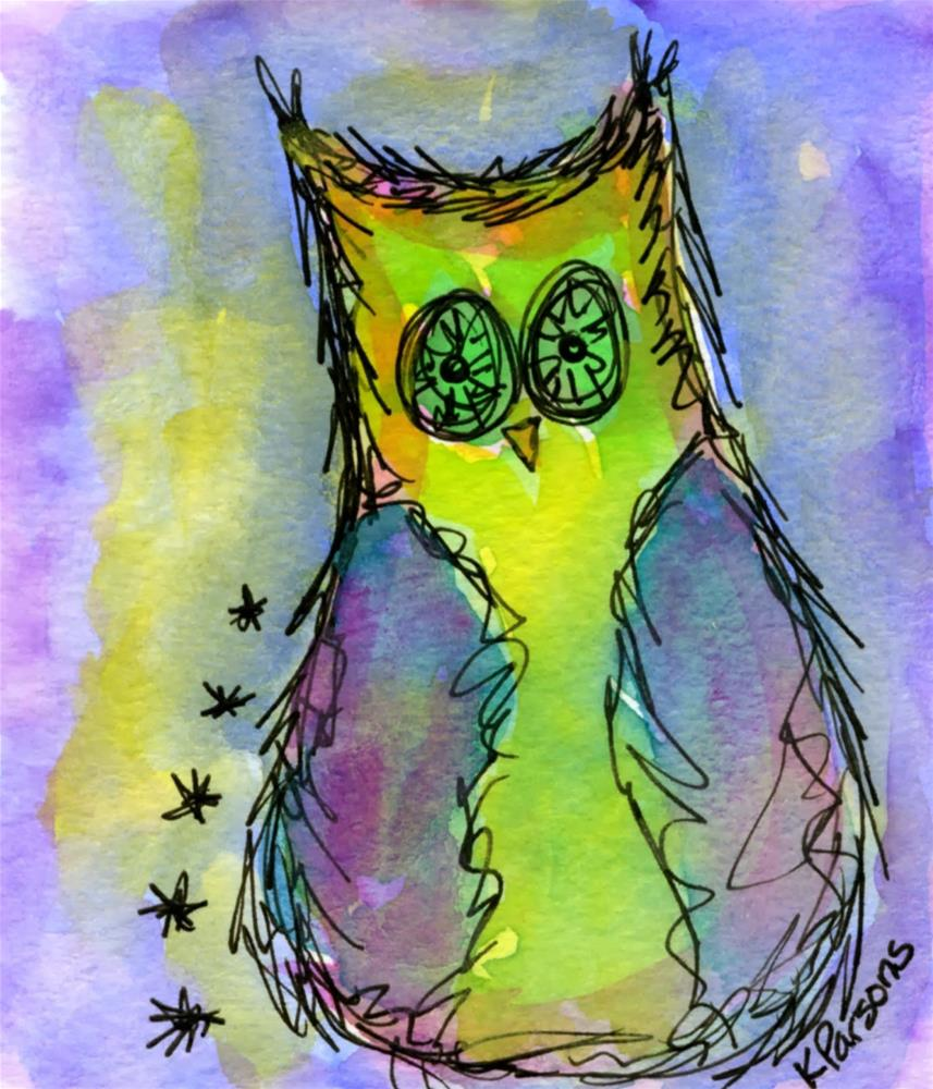 """Stars and a Hoot"" original fine art by Kali Parsons"