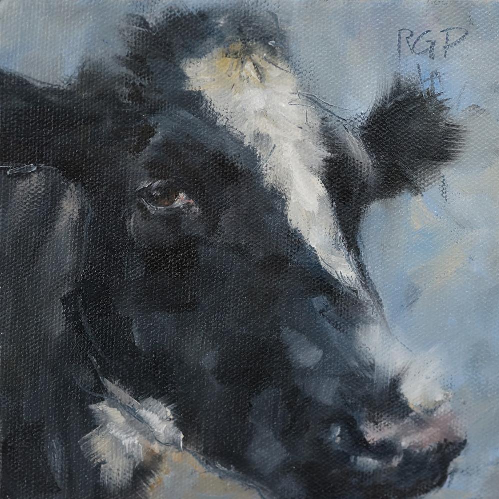 """""""Soulful Cow"""" original fine art by Rhea  Groepper Pettit"""