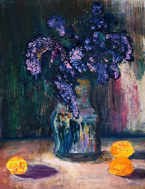 """""""Lilacs And Tangerines"""" original fine art by Janet Gunderson"""