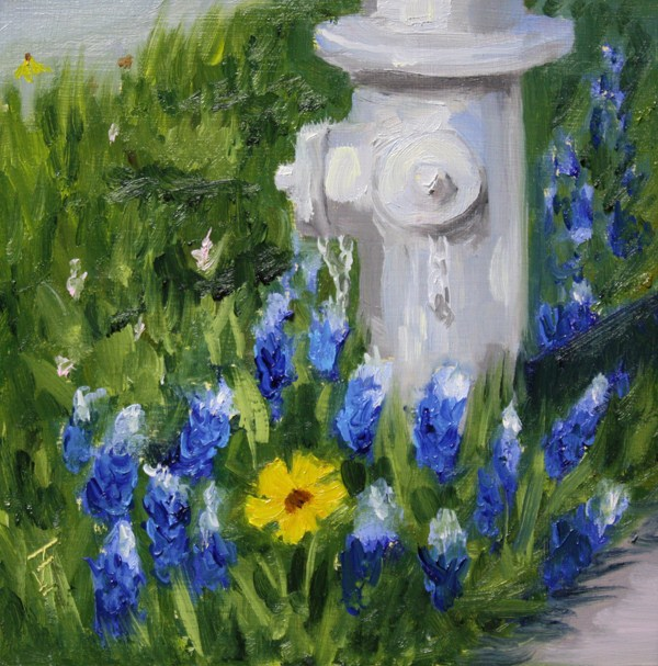 """Wildflower Hydrant"" original fine art by Jane Frederick"