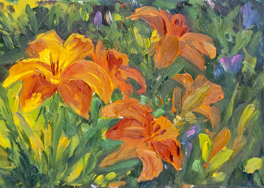 """KMD2927 Glowing Melody by Colorado Artist Kit Hevron Mahoney (5x7, oil, floral)"" original fine art by Kit Hevron Mahoney"