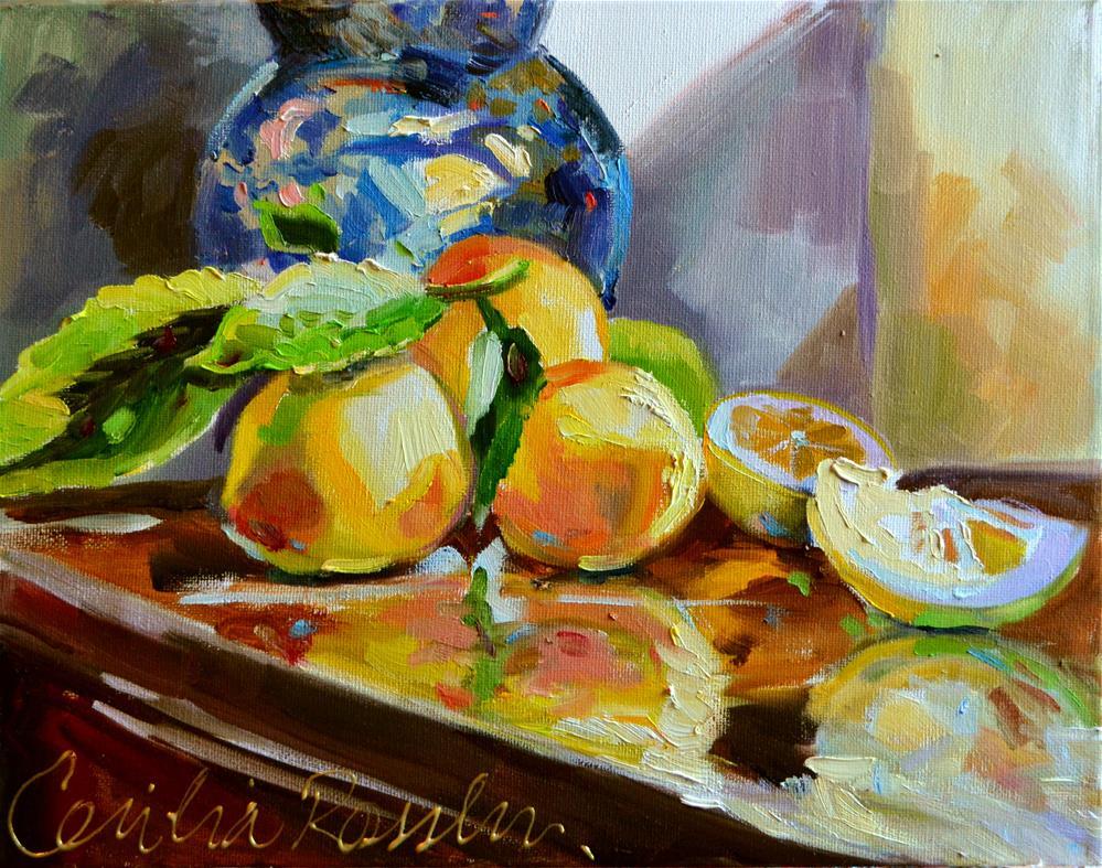 """LEMON REFLECTIONS"" original fine art by Cecilia Rosslee"