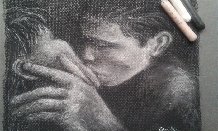 """The Kiss"" original fine art by Camille Morgan"