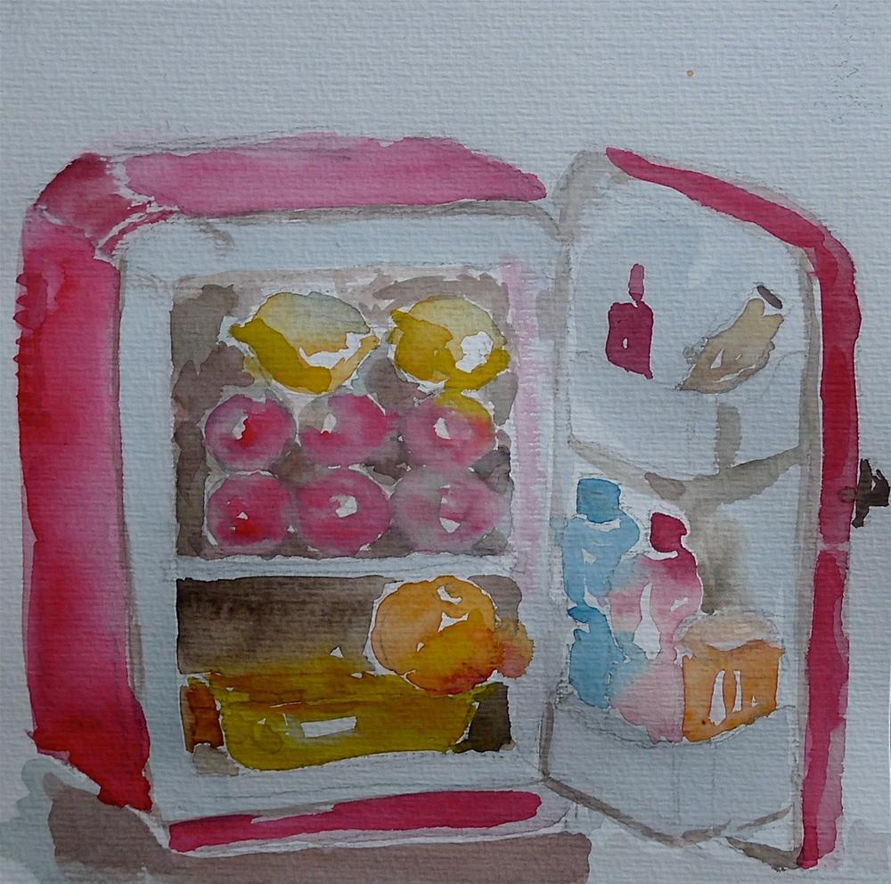 """Camping fridge"" original fine art by Ulrike Schmidt"