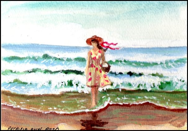 """Picking Shells on the Beach"" original fine art by Patricia Ann Rizzo"