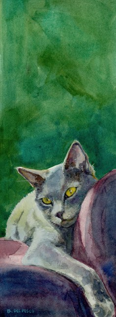 """Watercolor: Nik-Nik, Lounging"" original fine art by Belinda Del Pesco"