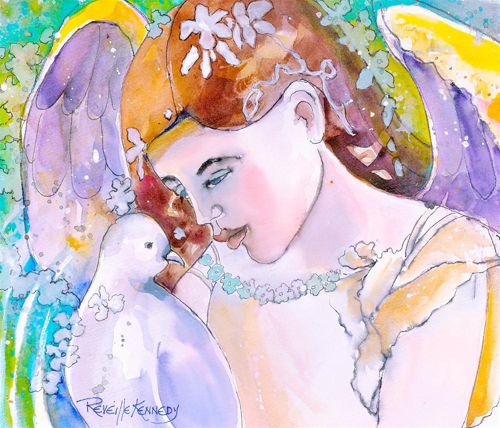 """""""The Angel and the Dove"""" original fine art by Reveille Kennedy"""