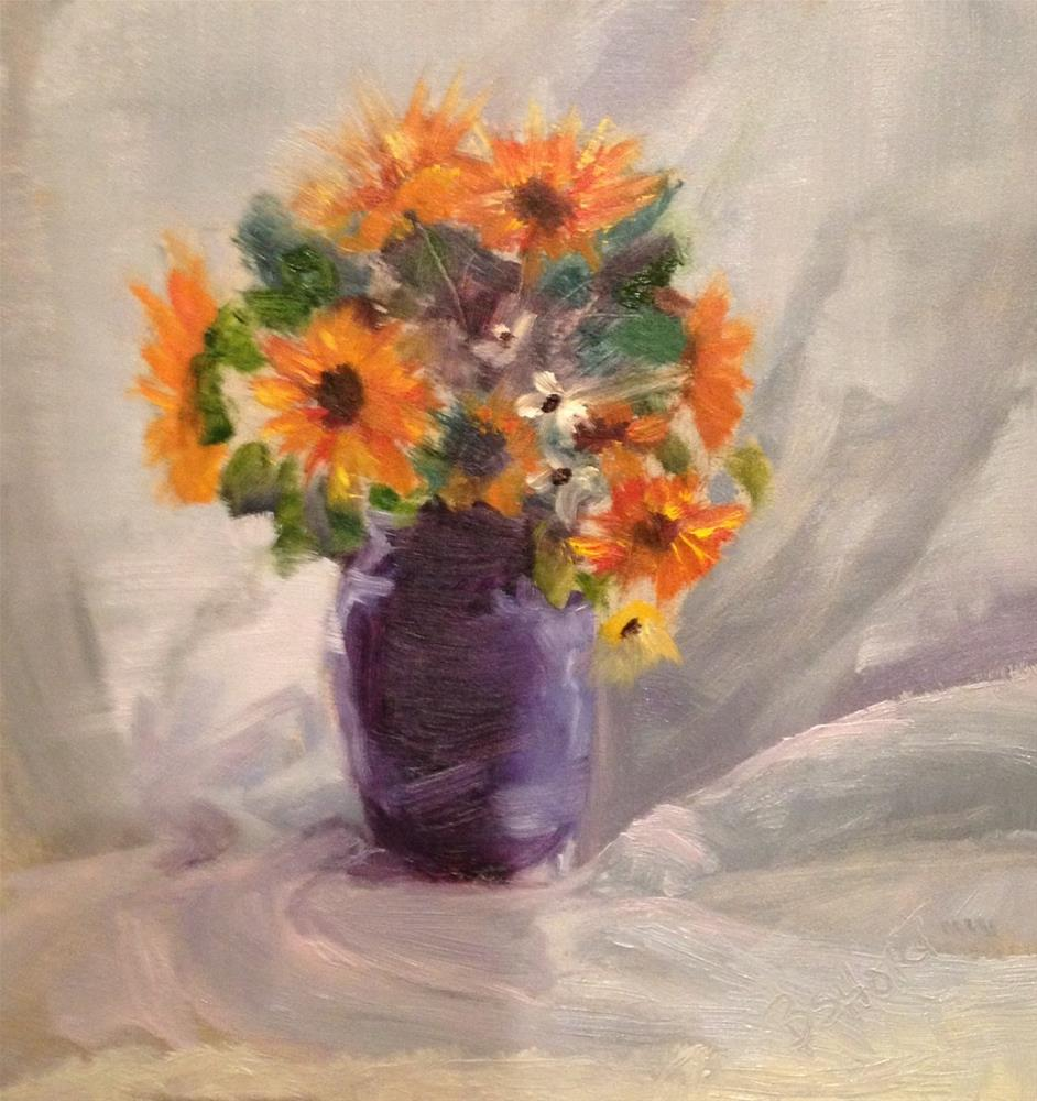 """day21; flowers w/vase"" original fine art by Brenda Short"