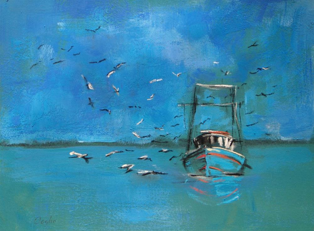 """Fishing Boat and Gulls"" original fine art by Angela Ooghe"