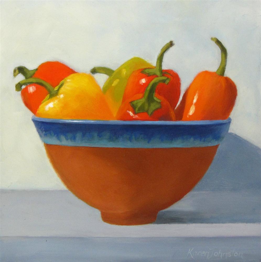 """Pot of Peppers"" original fine art by Karen Johnston"