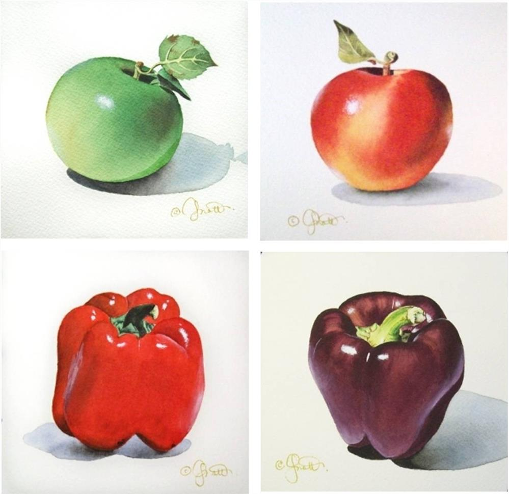 """""""Apples & Peppers"""" original fine art by Jacqueline Gnott, TWSA, WHS"""
