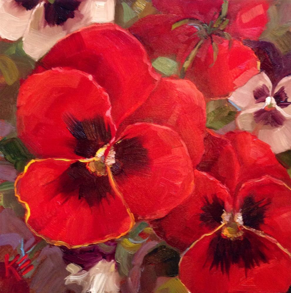 """Red & White winter Pansies"" original fine art by Krista Eaton"