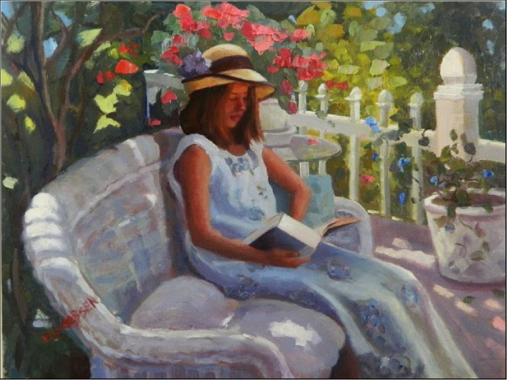 """""""Summer Days, 12x16, oil on linen, paintings of girls, dappled light, gardens, girls in hats, bo"""" original fine art by Maryanne Jacobsen"""