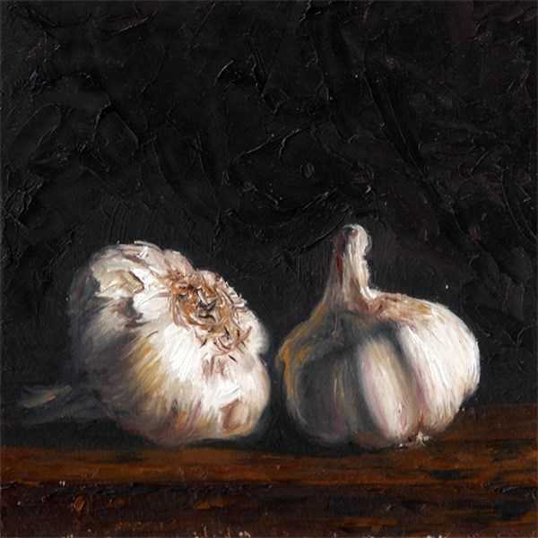 """Two heads of garlic"" original fine art by Peter J Sandford"