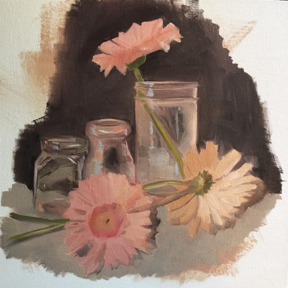 """318 Gerbera Daisies"" original fine art by Jenny Doh"