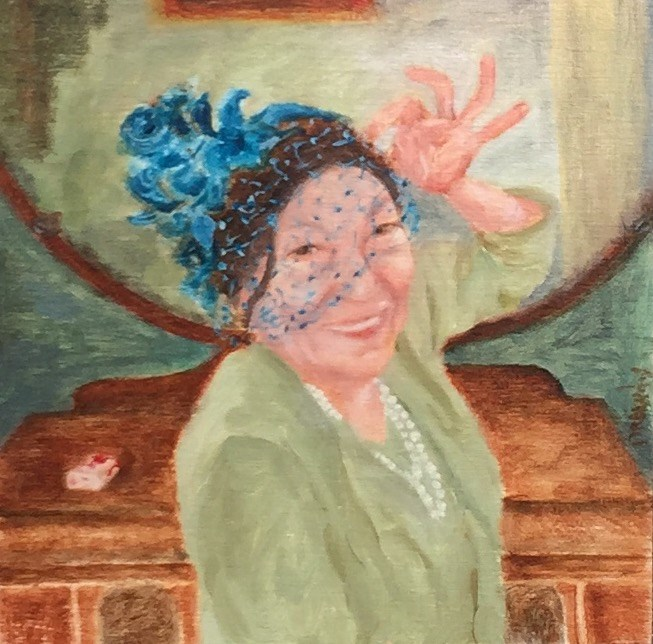 """Woman in Blue Veil"" original fine art by Stephanie Drawdy"
