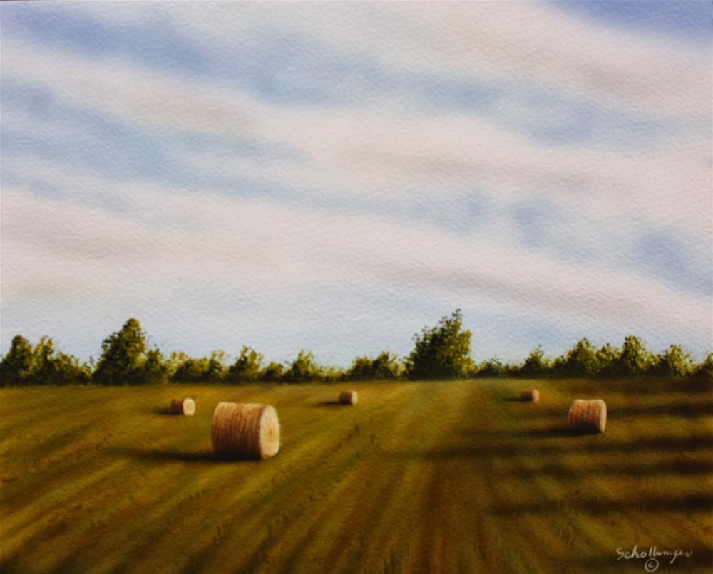 """Hay Field On Highway 100"" original fine art by Fred Schollmeyer"
