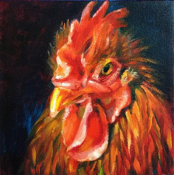 """rooster03"" original fine art by Joy Cai"