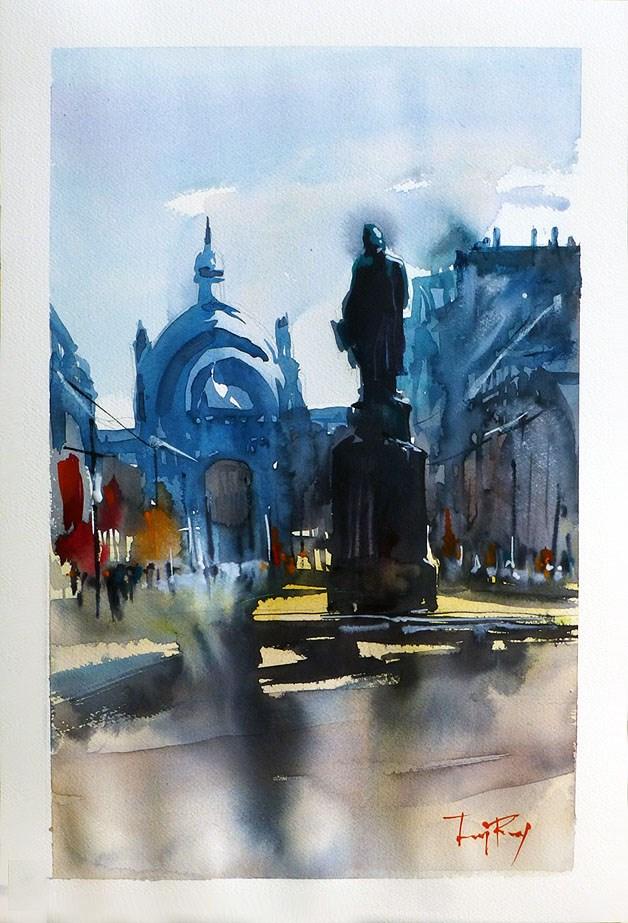 """town Square"" original fine art by Jurij Frey"