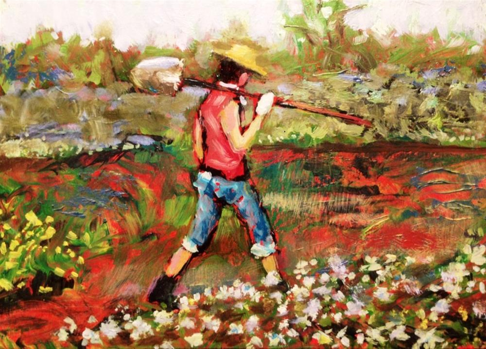"""Gardener"" original fine art by David Larson Evans"