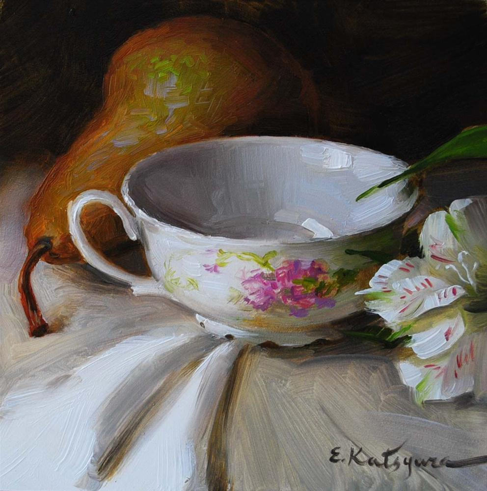 """Teacup and Pear"" original fine art by Elena Katsyura"