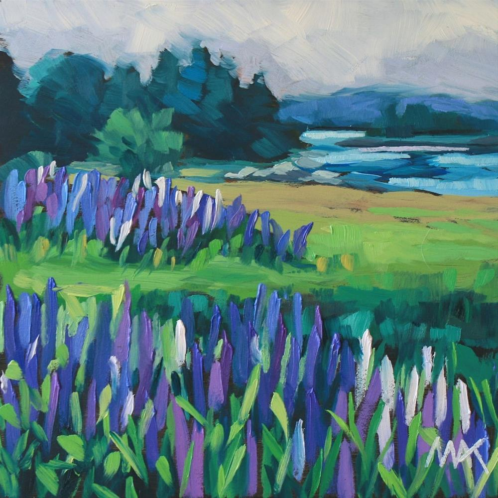 """Lupines and Fog"" original fine art by Mary Anne Cary"