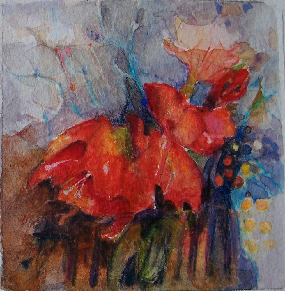 """Red Amarillis"" original fine art by Kim Roberti"