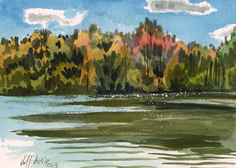 """Fall Bank of Trees"" original fine art by Jeff Atnip"