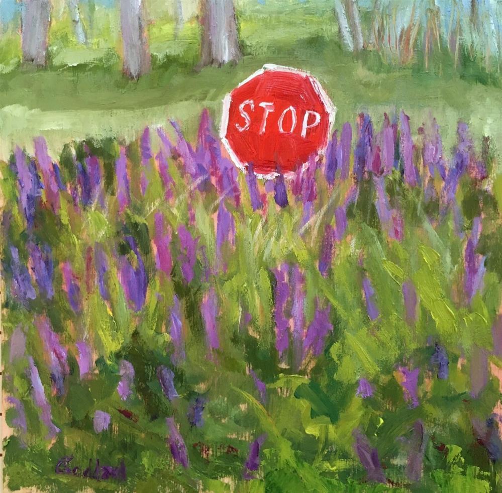 """Lupine Stop"" original fine art by Shari Goddard Shambaugh"