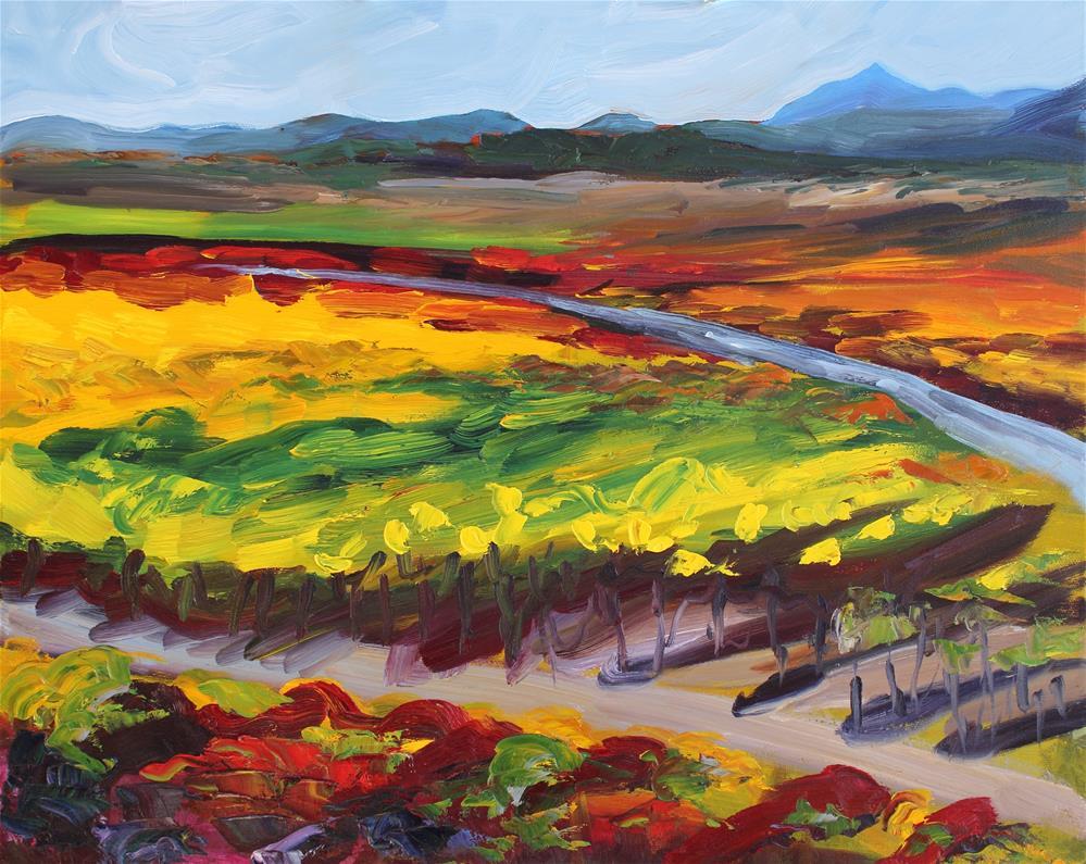 """Old Lakeville Road Vineyard"" original fine art by Loralee Chapleau"