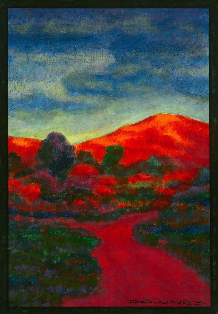 """198 LANDSCAPE STYLISED 4"" original fine art by Trevor Downes"