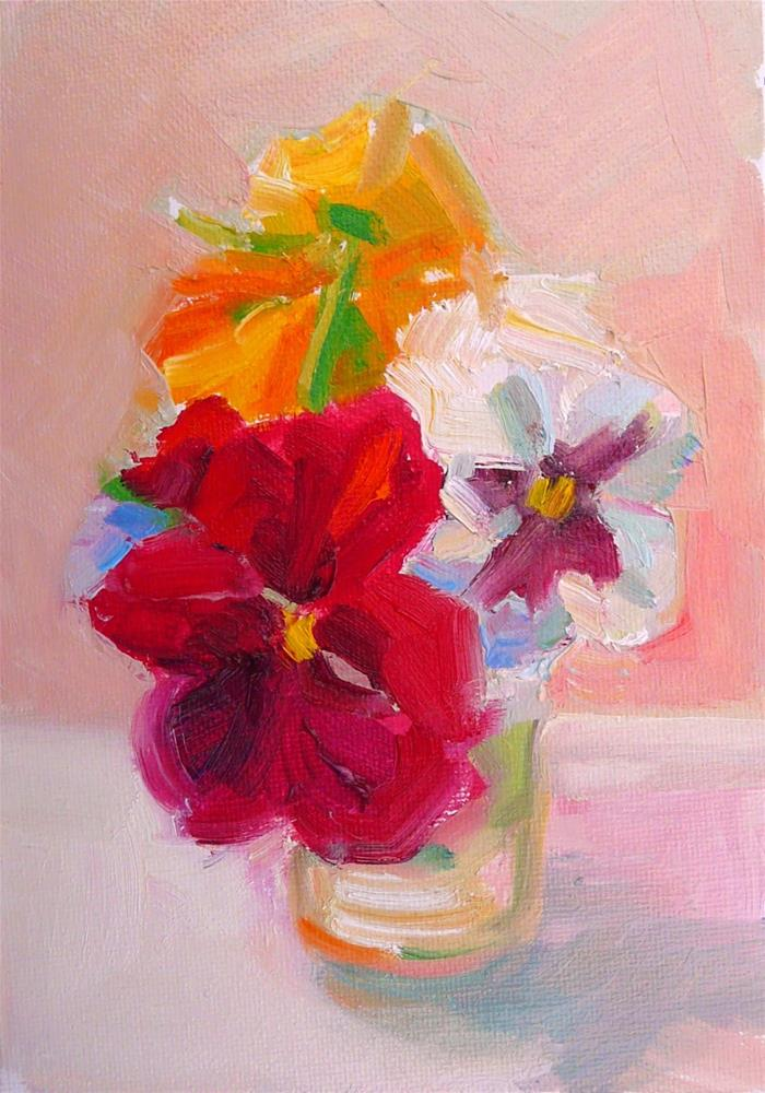 """""""Red Pansy and Friends,still life,oil on canvas,7x5,price$200"""" original fine art by Joy Olney"""