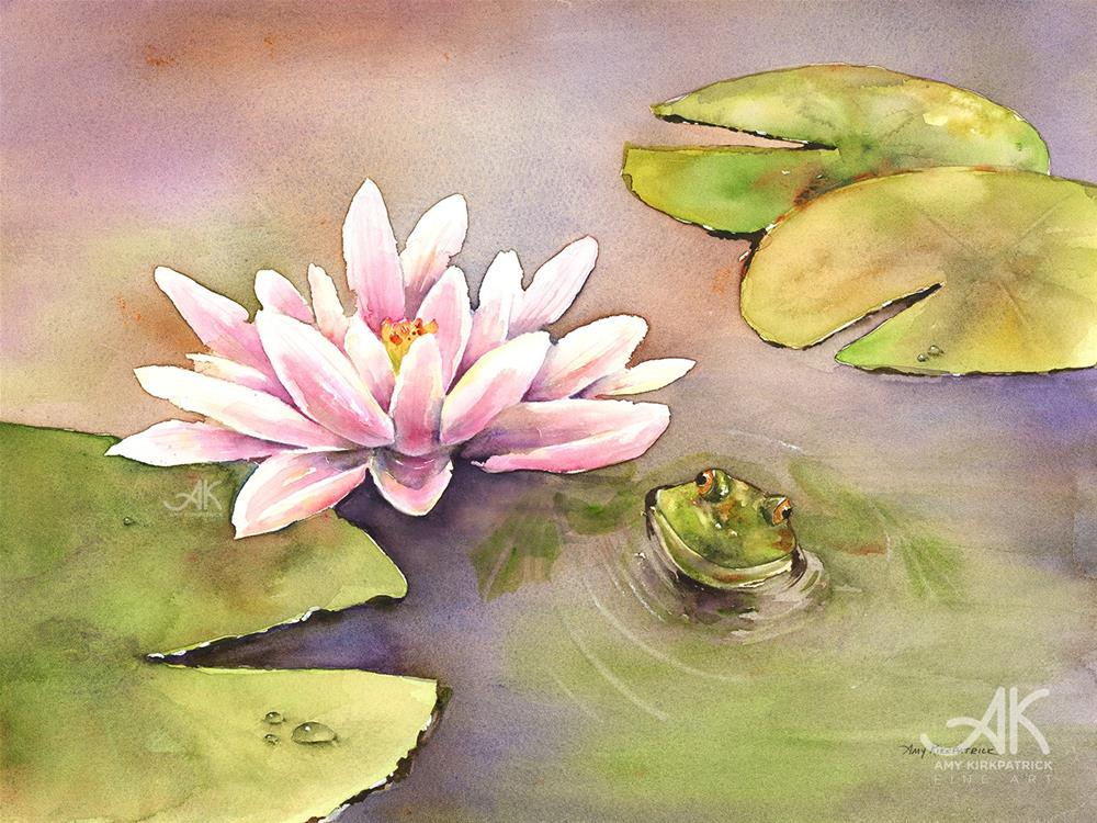 """BY THE WATERLILY #0546"" original fine art by Amy Kirkpatrick"