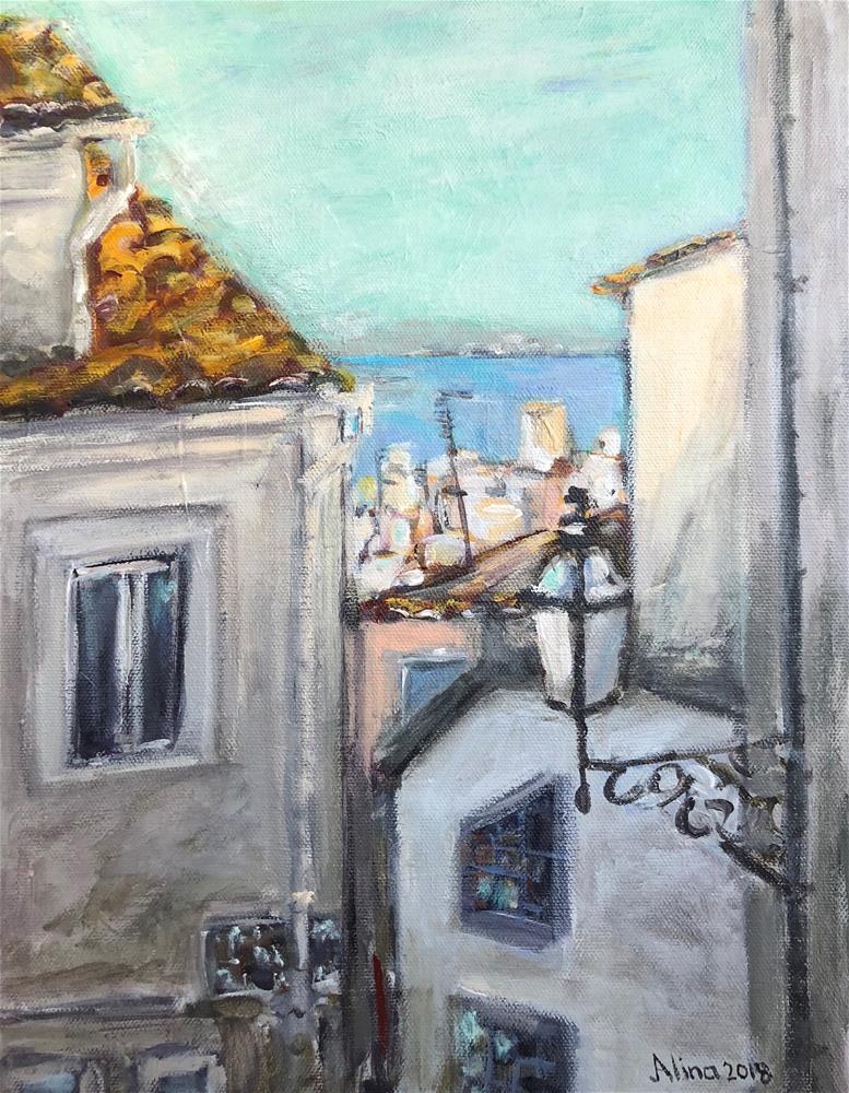 """Lisbon Street View"" original fine art by Alina Vidulescu"
