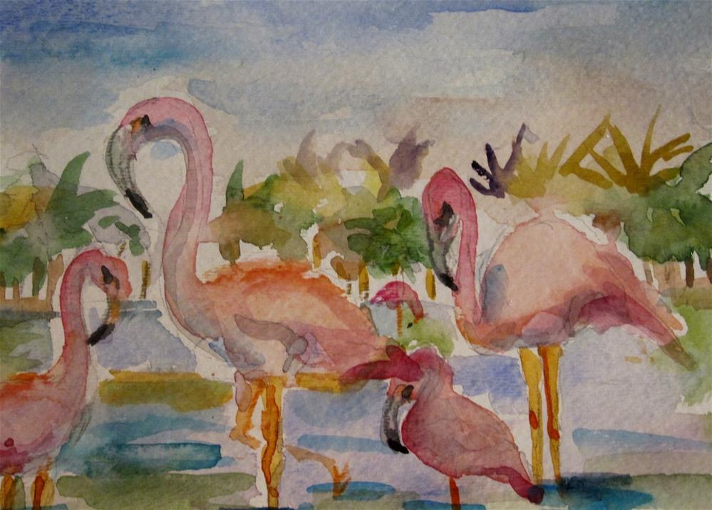 """Pink Flamingo"" original fine art by Delilah Smith"