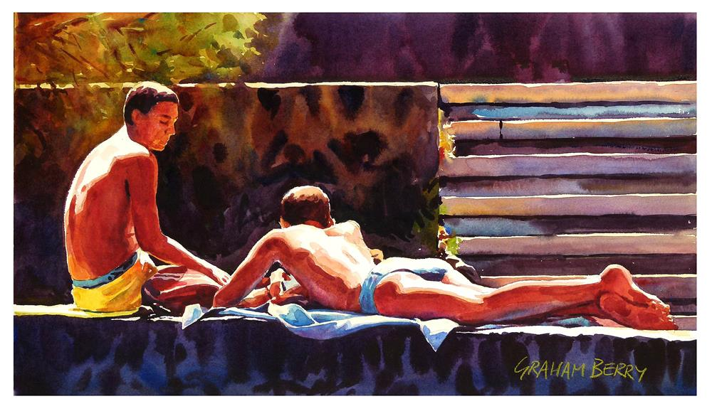 """""""Lads on the wall."""" original fine art by Graham Berry"""