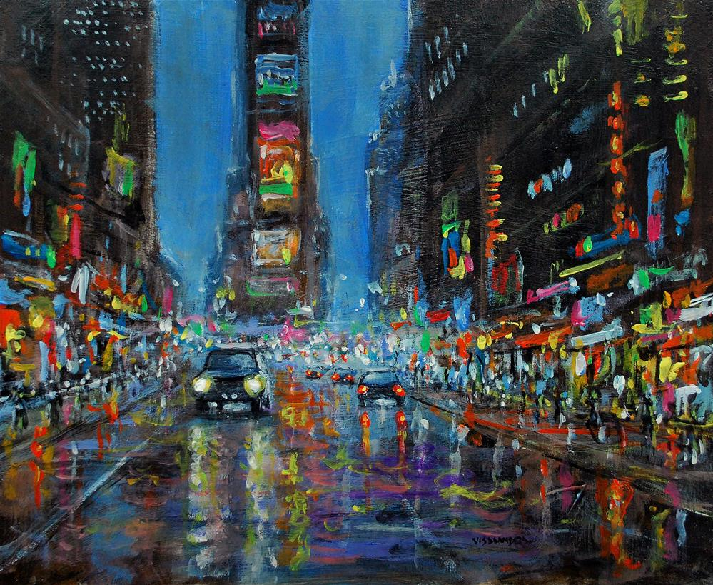 """New York in night4"" original fine art by vishalandra dakur"