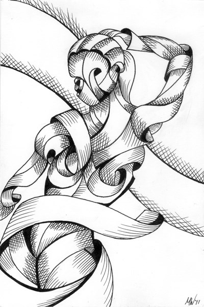 """""""Mark Webster - Jenni 38-01 - Abstract Nude Figurative Pen and Ink Drawing"""" original fine art by Mark Webster"""