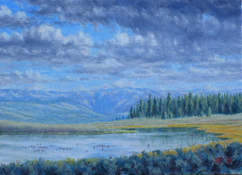 """C1633 ""Wildfowl Flotillas on Mosquito Lake"" (West of Union Pass, Wyoming)"" original fine art by Steven Thor Johanneson"