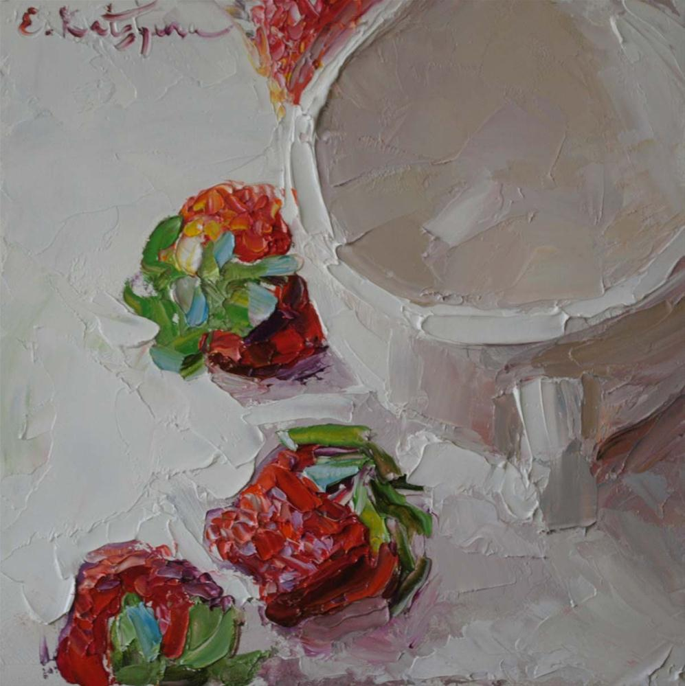 """Fresh Strawberries"" original fine art by Elena Katsyura"