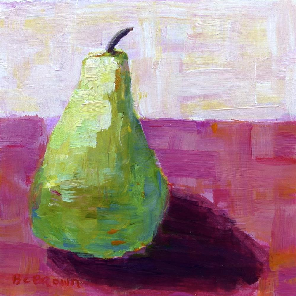 """Pear still life with pink"" original fine art by Beth Carrington Brown"