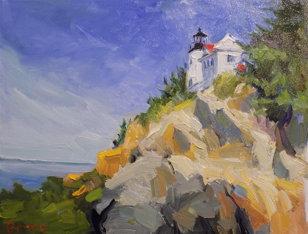 """Bass Harbor Coast Guard Station"" original fine art by Rita Brace"