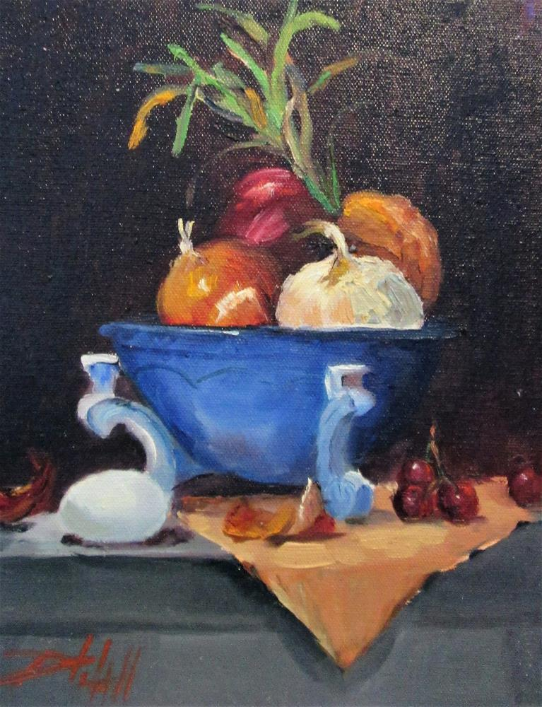 """Onions and Egg"" original fine art by Delilah Smith"