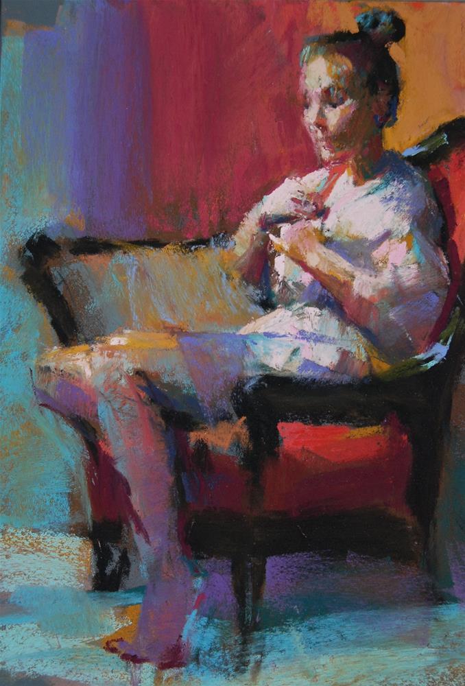 """Model in a Pink Robe"" original fine art by Margaret Dyer"