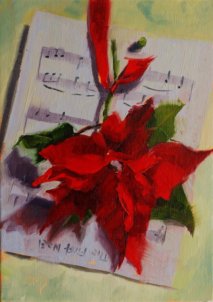 """No. 536 The First Poinsettia and Noel"" original fine art by Susan McManamen"
