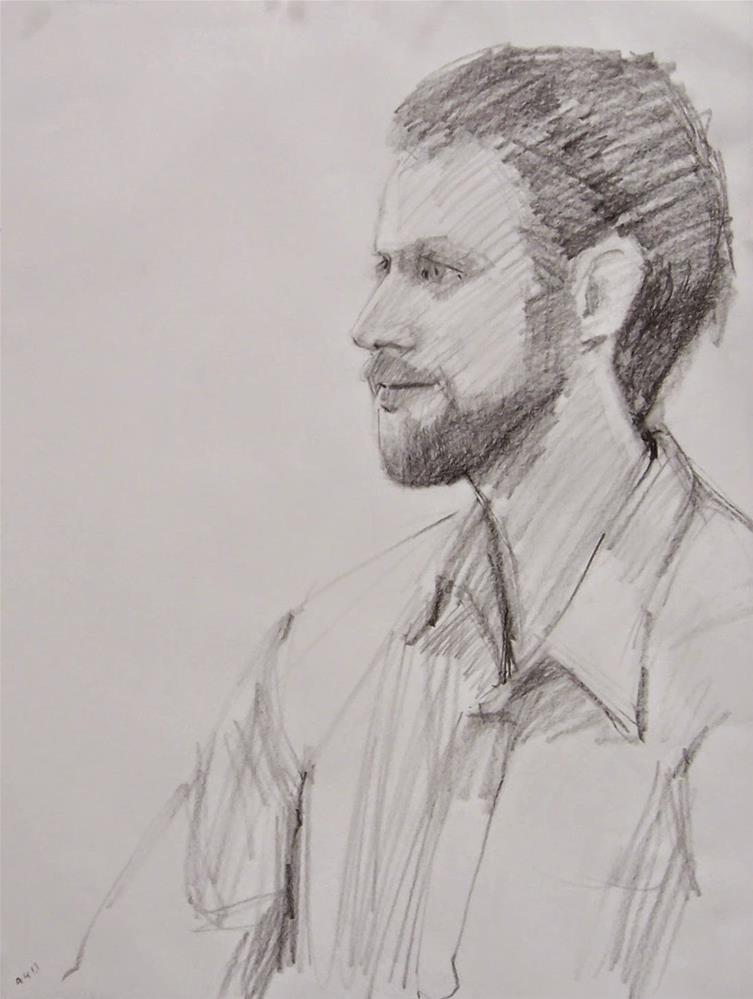 """Mike the Architect,portrait,graphit on paper,24x18,priceNFS"" original fine art by Joy Olney"