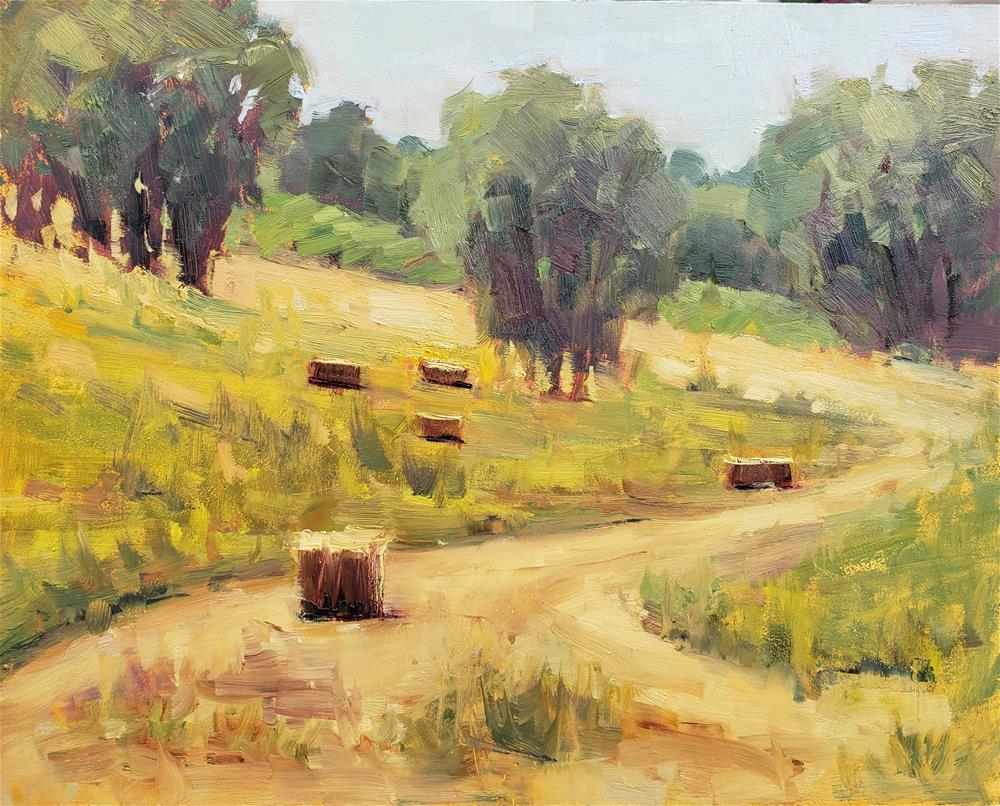 """Hay Bales"" original fine art by Barbie Smith"