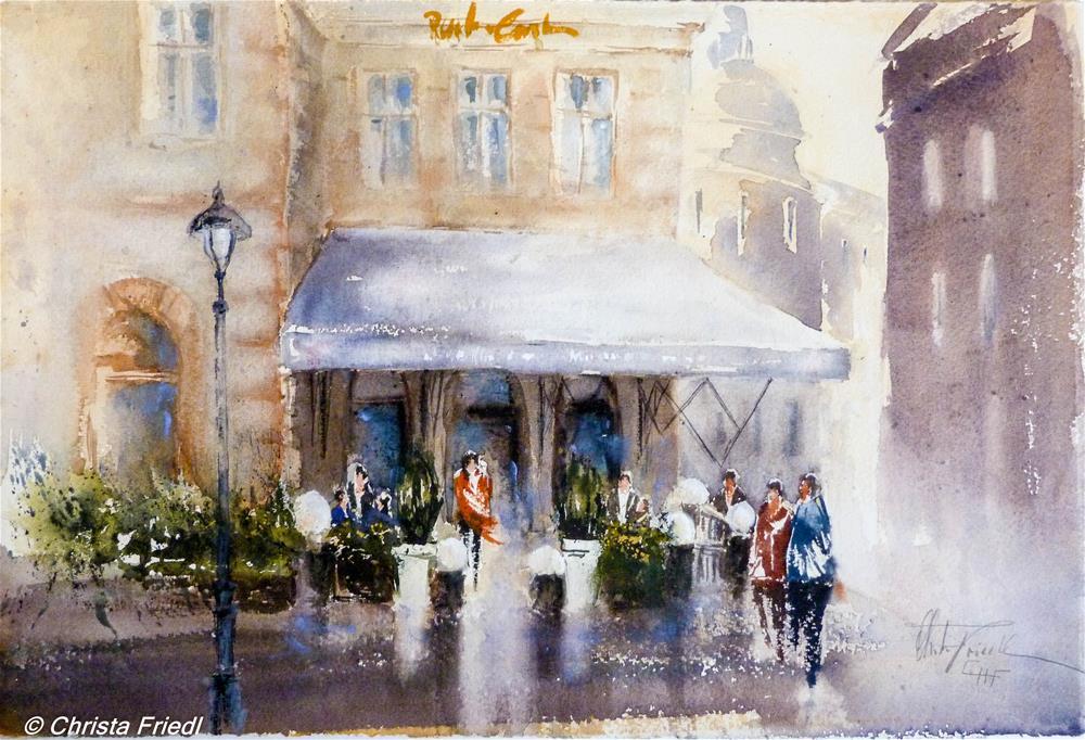 """Cafe Schwarzenberg Vienna"" original fine art by Christa Friedl"