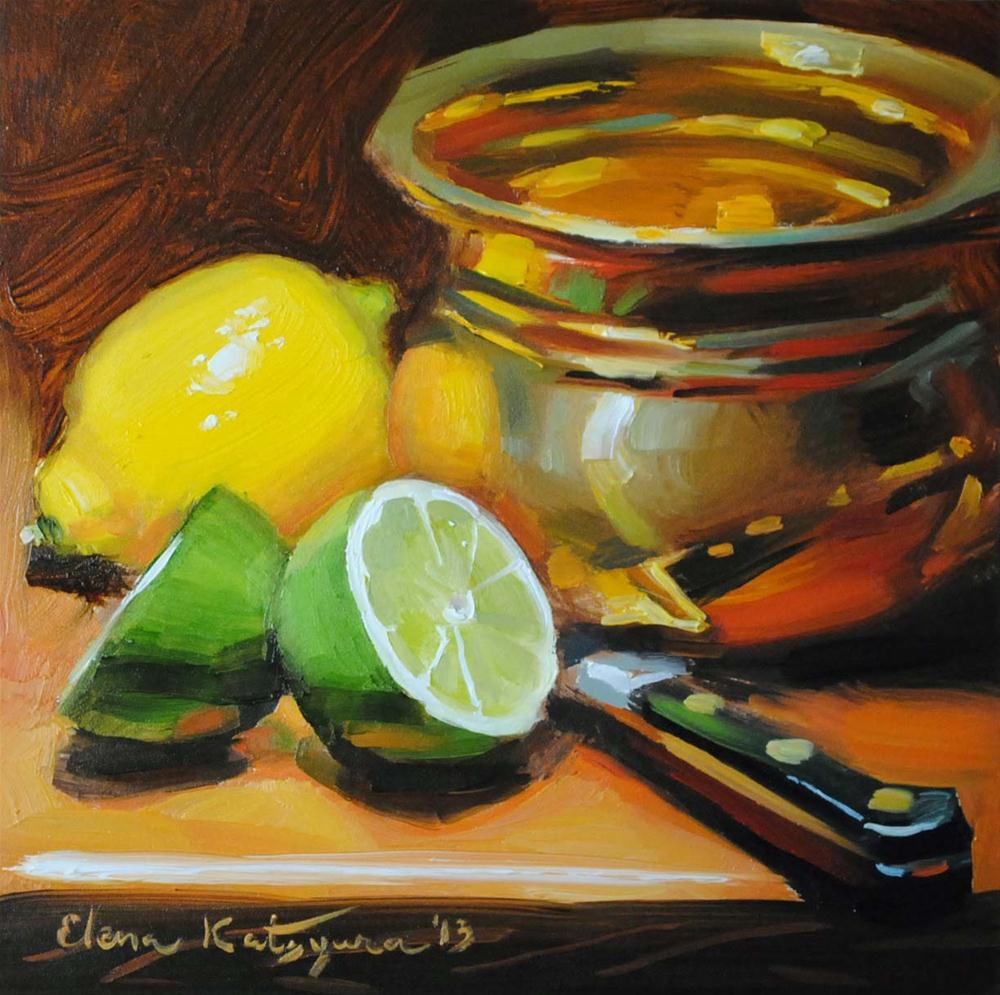 """Green and Gold"" original fine art by Elena Katsyura"